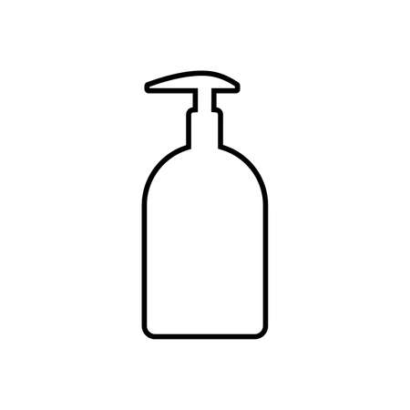 Line icon of bottle or container with pump dispenser of liquid. May represent sanitizer, disinfectant, antiseptic, soap or cosmetic liquid, cream or lotion. Vector Illustration