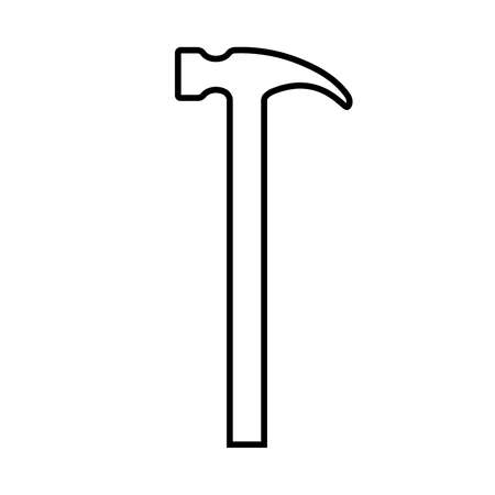 Hammer line icon. Modern claw hammer with weighted metal head. Vector Illustration