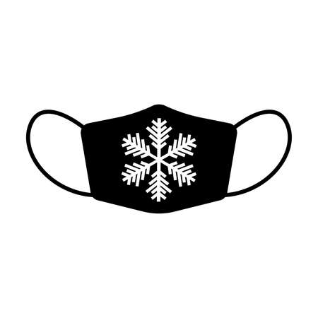 Winter face mask icon. Protective surgical or medical mask with snowflake decoration. Vector Illustration
