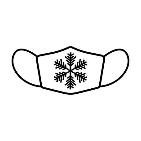 Winter face mask line icon. Protective surgical or medical mask with snowflake decoration. Vector Illustration Stock Illustratie