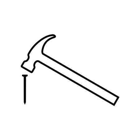 Hammer hitting nail line icon. Modern claw hammer with weighted metal head. Vector Illustration Stock Illustratie