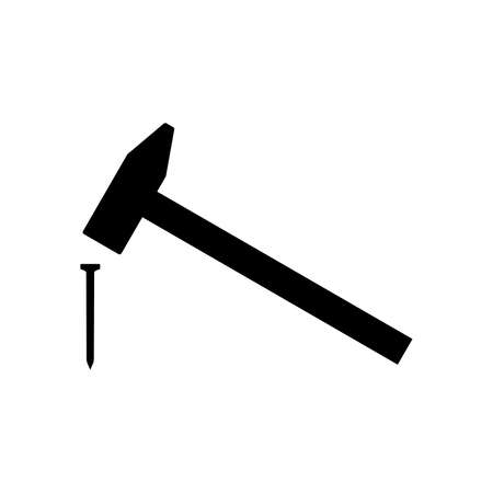 Hammer hitting nail icon. Simple hammer with weighted metal head. Vector Illustration
