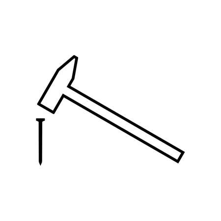 Hammer hitting nail line icon. Simple hammer with weighted metal head. Vector Illustration