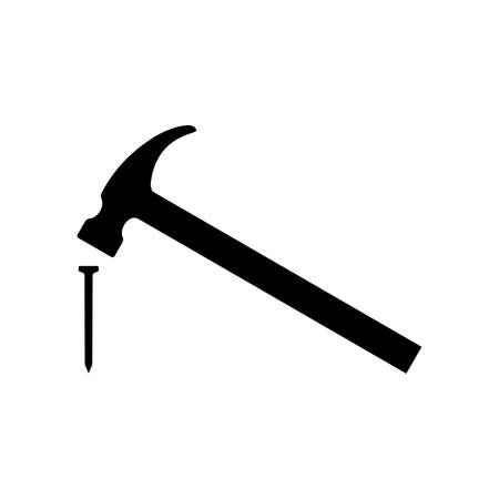 Hammer hitting nail icon. Modern claw hammer with weighted metal head. Vector Illustration