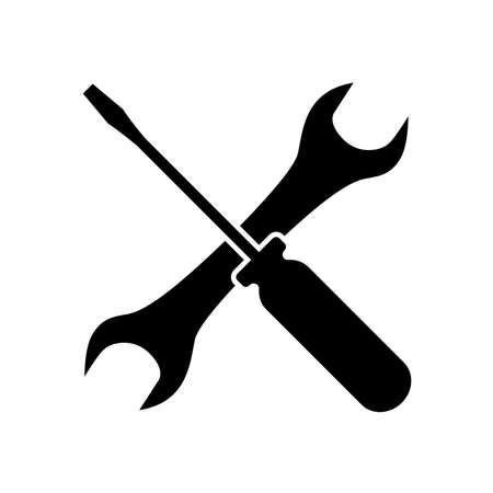 Screwdriver and wrench icon. Symbol of setting, repair, technical service or tuning. Vector Illustration