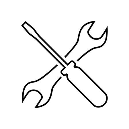 Screwdriver and wrench line icon. Symbol of settings, repairs, technical service or tuning. Vector Illustration
