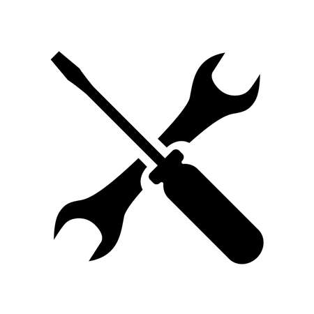 Screwdriver and wrench icon. Symbol of settings, repairs, technical service or support. Vector Illustration