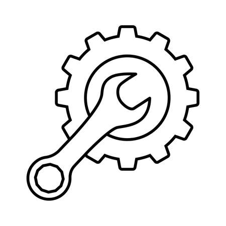 Cogwheel and wrench line icon. Symbol of adjustment, repairs, technical service or support. Vector IllustrationVector Illustration