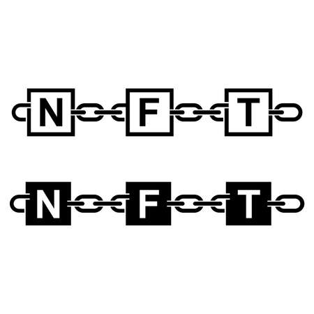 Icons of non-fungible tokens. Blockchain records with NFT signs connected with chain links. Vector Illustration