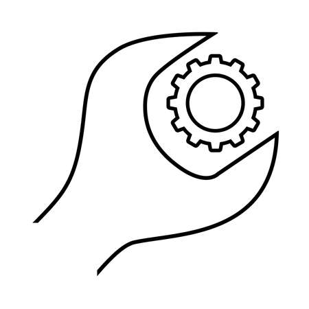 Cogwheel and wrench line icon. Symbol of adjustment, repairs, technical service or support. Vector Illustration