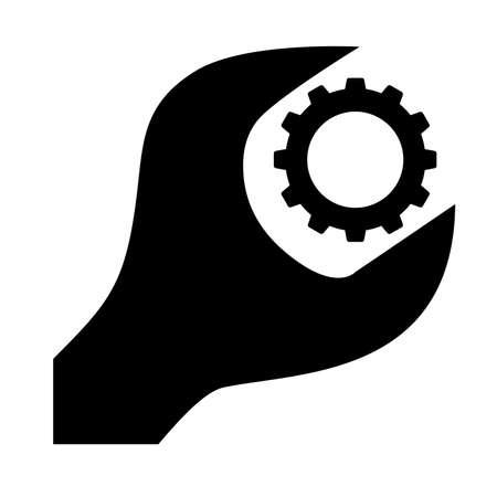 Cogwheel and wrench icon. Symbol of adjustment, repairs, technical service or support. Vector Illustration