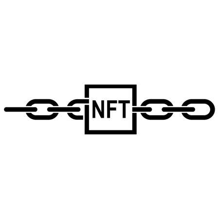 Line icon of non-fungible token. Blockchain record with NFT sign connected with chain links. Vector Illustration Stock Illustratie