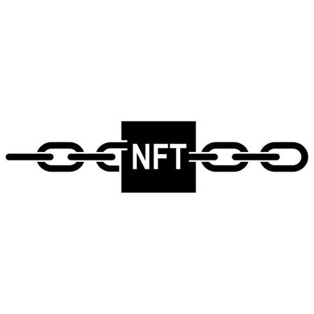 Icon of non-fungible token. Blockchain record with NFT sign connected with chain links. Vector Illustration Stock Illustratie