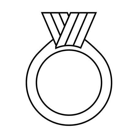 Medal line icon. Blank medal decoration with ribbon. Vector Illustration Stock Illustratie