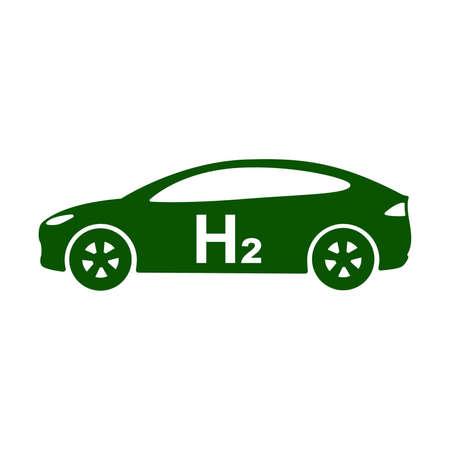 Hydrogen vehicle icon. Hydrogen powered car side view. Vector Illustration Stock Illustratie