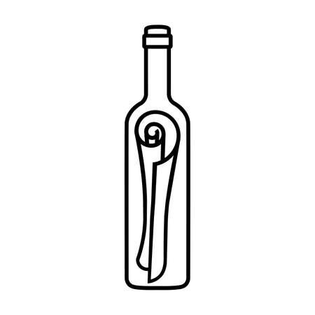Line icon of message in bottle. Scroll of paper in sealed wine bottle. Vector Illustration Stock Illustratie