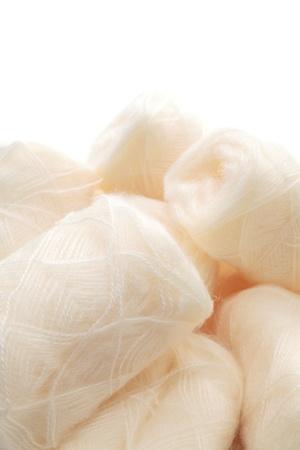Hanks of white wool (mohair) photo