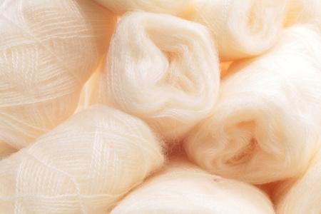 Hanks of white wool (mohair) Stock Photo