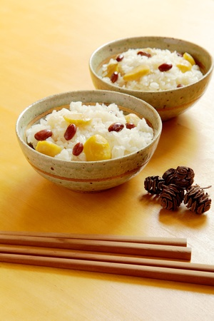 Kurigohan (rice cooked with chestnuts and beans)  Stock Photo