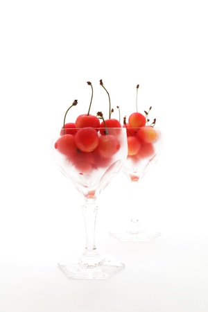 pulpy: Japanese cherries and glasses Stock Photo
