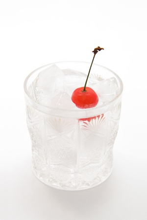 carbonated: Soda and cherry on white background Stock Photo
