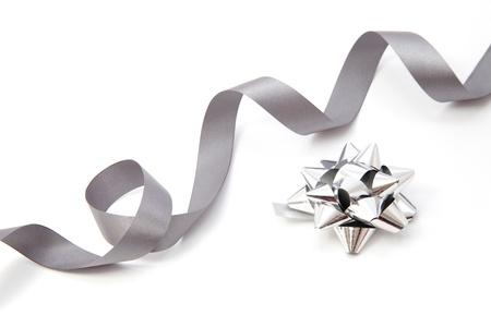 silver ribbon: Silver bow Stock Photo