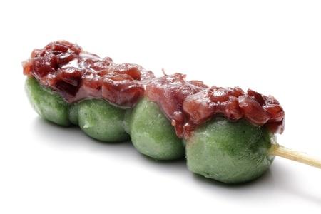 Japanese confectionery, kusa dango, mugwort-flavored rice dumpling with sweet bean paste