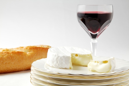 Camembert cheese, wine and bread Stock Photo - 12501789