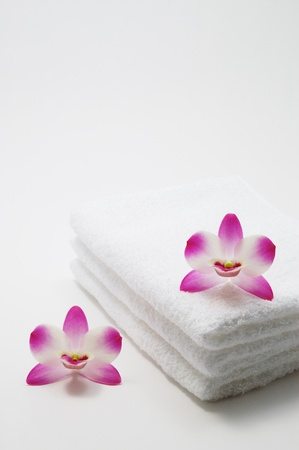 Orchids and towels                            Stock Photo - 12908904