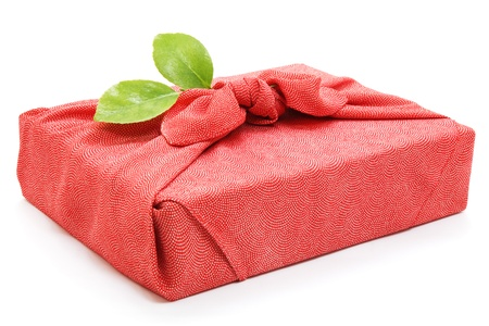 Gift box wrapped with japanese silk wrapping cloth, furosiki