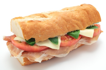 panino: Sandwich with Ham, Tomato and Cheese