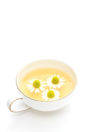 Chamomile tea on white background 写真素材