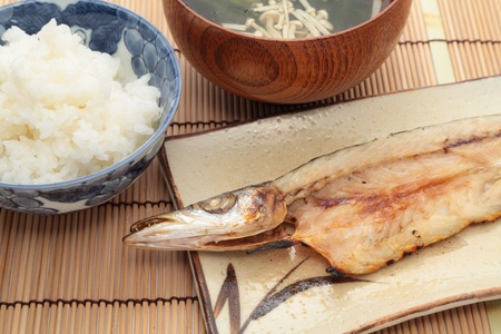 barracuda: Japanese home cooking, grilled barracuda and rice with miso soup Stock Photo