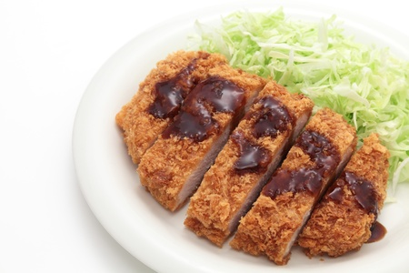 Japanese pork cutlet on white background