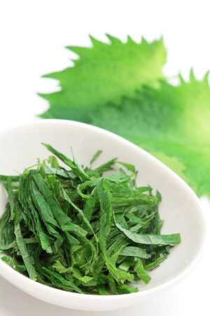 Japanese condiment, chopped  green perilla, shiso  photo