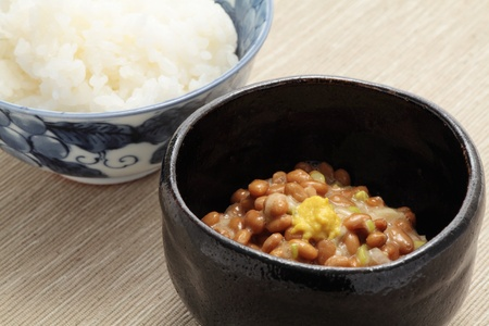 Natto, fermented soybeans and boiled rice
