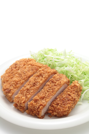 Japanese pork cutlet on white background Stock Photo