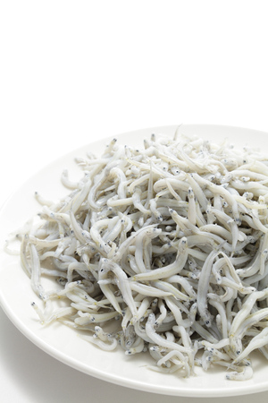 whitebait: Boiled whitebait on white background Stock Photo