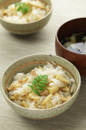 Japanese cuisine, Cooked rice with bamboo shoots and the clear soup with bamboo shoots and wakame seaweed Stok Fotoğraf
