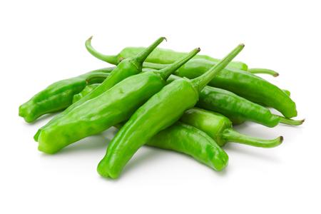 Shishito green pepper on white