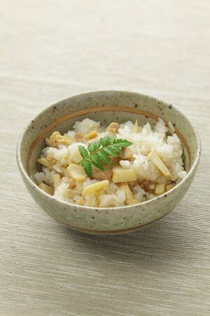 Japanese cuisine, cooked rice with bamboo shoots Stok Fotoğraf