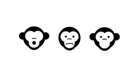 Non vedere il male, non sentire il male, non parlare male. Illustrazione vettoriale. tre scimmie Vettoriali