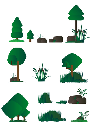 marsh: Set of different cartoon flora, marsh plants in flat design, bushes, trees, rocks.