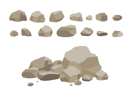 rubble: Rock stone set cartoon. Stones and rocks in isometric 3d flat style. Set of different boulders.