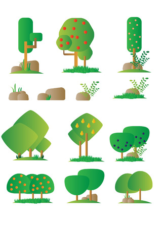 orchard: Set of different cartoon flora of orchard in flat design, bushes, trees, rocks. Video Game