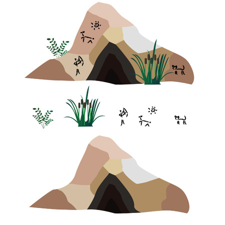 Vector set about the Stone Age primitive mans tools It includes spear, fire, stick, hammer, precious stones. Concept for video game Illustration