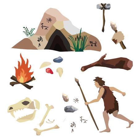 Conjunto de vectores de la Edad de Piedra, la vida del hombre primitivo, sus herramientas y vivienda. Incluye cueva, pintura de la roca, la lanza, raspador, fuego, palillo, disminuyen el martillo, piedras preciosas.