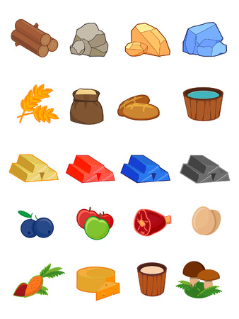 vector icon set for 2d games, the game interface, UI, resources, ore, food wood