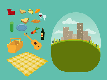 vector set constructor for a picnic for a family and romantic picnic in the park, spread out a blanket, a basket of food, summer vacation, picnic in town city