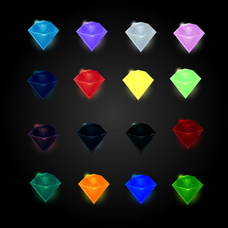 set of colored diamonds, gemstones, crystals, images for games icons